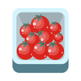 Tomatoes in Tray Flat Design Illustration. Royalty Free Stock Images