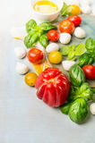 Tomatoes various with fresh basil and mozzarella on blue wooden background Stock Photography