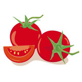Tomatoes Vector Illustration. Simple Illustration of two tomatoes and one piece isolated on white background, flat design, no gradients Stock Image