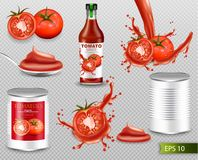 Tomatoes Vector realistic set with splash, ketchup bottle, canned metallic tin. Label design template. 3d detailed illustrations. Tomatoes Vector realistic set stock illustration