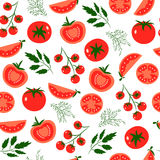Tomatoes. Vector seamless pattern with red tomatoes. Great for design of healthy lifestyle or diet. For wrapping paper, textiles and other food designs.Vector Stock Photos