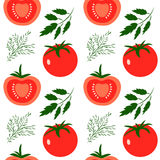Tomatoes. Vector seamless pattern with red tomatoes. Great for design of healthy lifestyle or diet. For wrapping paper, textiles and other food designs.Vector Stock Images