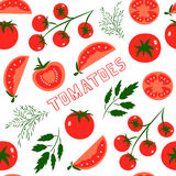 Tomatoes. Vector seamless pattern with red tomatoes. Great for design of healthy lifestyle or diet. For wrapping paper, textiles and other food designs.Vector Royalty Free Stock Photo