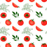 Tomatoes. Vector seamless pattern with red tomatoes. Great for design of healthy lifestyle or diet. For wrapping paper, textiles and other food designs.Vector Royalty Free Stock Images