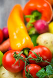 Tomatoes. Vegetables; Tomatoes and yellow pepper Royalty Free Stock Images