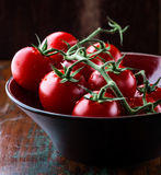 Tomatoes on the vine in bowl Stock Images