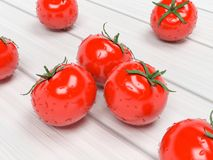 Tomatoes. Wet ripe red vegetables on wooden background. 3d rendering illustration royalty free stock images