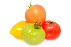 Tomatoes on white. Group of tomato on isolated background Royalty Free Stock Photos