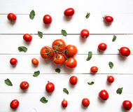 Tomatoes on white wooden table.Top view Stock Photo