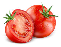 Tomatoes. Whole and a half isolated on white Royalty Free Stock Photo