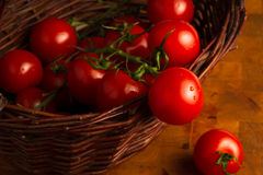 Tomatoes in the wicker basket Stock Photo