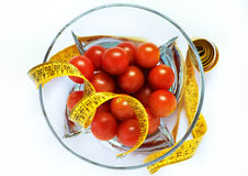 Tomatoes With Measuring Tape Isolated Royalty Free Stock Photos