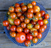 Tomatoes on a wooden background. In a plate stock photos