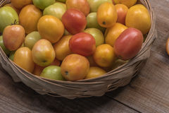 Tomatoes on a wooden background Stock Image