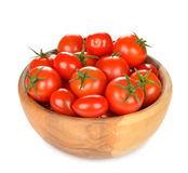 Tomatoes in a wooden bowl Royalty Free Stock Images