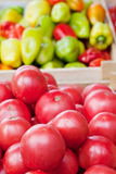 Tomatoes in wooden boxes Royalty Free Stock Photo