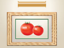 Tomatoes and wooden frame stock photography