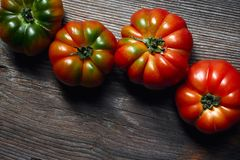 Tomatoes on a wooden table stock photos