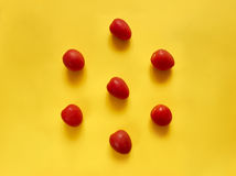 Tomatoes on yellow background Stock Images