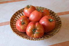 Tomatoes in basket. Big red tomatoes in basket on the table Royalty Free Stock Photo