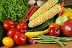 Tomatos, corn, beans Royalty Free Stock Photos