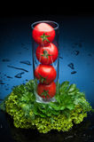 Tomatos and greenery in water Stock Photo