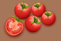 Tomatos 21. Illustration of few lying tomatoes on brown background Royalty Free Stock Photos