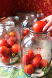 Tomatos in jars prepared for preservation Stock Photos