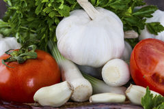 Tomatos, onions and parlsey closeup Royalty Free Stock Image