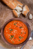 Tomatos soup puree on crushed brown paper Royalty Free Stock Image