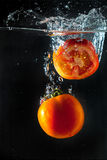 Tomatos splashing with in water Stock Photography