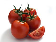 Tomatos on a vine Royalty Free Stock Photos