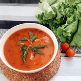 Tomatpumpasoppa royaltyfri fotografi