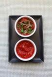 Tomatsås eller marinad med örter arkivbild