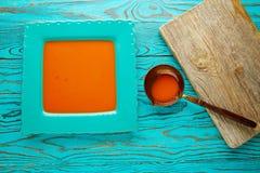 Tomatsås på fyrkantig turkosmaträtt Royaltyfri Fotografi
