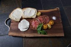 Tomatsmörgåsstycken med mozzarellaost och släktklenodtomat arkivbilder