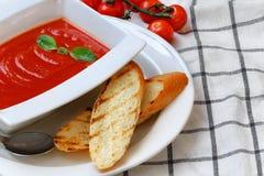 Tomatsoppa i en vit platta royaltyfria bilder