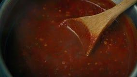 Tomatsoppa i kruka stock video