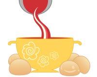 Tomatsoppa- och brödrullar Royaltyfri Foto