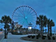 Tombée de la nuit au pavillon en Myrtle Beach photos libres de droits