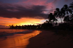 Tombée de la nuit de Kauai Photo stock
