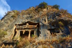 Tomb of Amyntas, Ancient Lycian rock tombs in Fethiye, Turkey stock photography