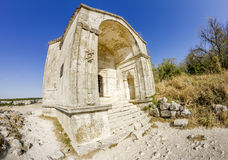 Tomb in the ancient cave city chufut-Kale, Crimea, Ukraine Stock Photo