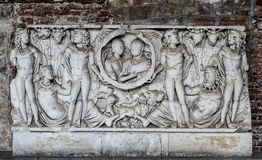 Tomb Artifact in Campo Santo (Pisa, Field of Miracles). This is an old tomb artifact located in Campo Santo (the old cemetery), Pisa, Field of miracles Royalty Free Stock Photos