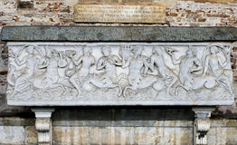 Tomb Artifact in Campo Santo (Pisa, Field of Miracles). This is an old tomb artifact located in Campo Santo (the old cemetery), Pisa, Field of miracles Stock Image