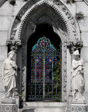 Tomb. Backlit stained glass tomb in New Orleans Royalty Free Stock Photos