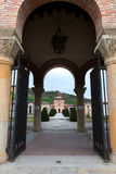 Tomb of Benito Mussolini. Entrance to the cemetery with the tomb of Mussolini in Predappio Stock Photography