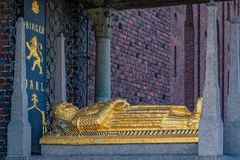 Tomb of Birger Jarl Duke of Sweden who founded Stockholm at Stoc. Tomb of Birger Jarl or Birger Magnusson, Jarl or Duke of Sweden, who founded Stockholm in the Stock Image