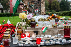 Tomb with candles and flowers of one of the victims of the Hungarian revolution of October, 1956 Royalty Free Stock Image