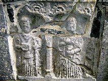 Tomb Carving. Carving done on an ancient tomb inside the Rock of Cashel, Ireland Stock Photo